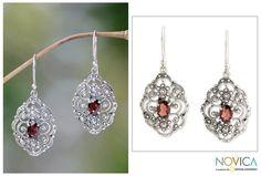 Fair Trade Sterling Silver and Garnet Dangle Earrings - Kuta Princess   NOVICA