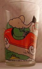 Verre à moutarde glass BABAR 1991. Dans auto rouge, salue Pom & Flore. VM217 (Was mustard container) children's glass