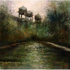 A. Q. Arif, 14 x 14 Inch, Oil on Canvas, Cityscape Painting, AC-AQ-083
