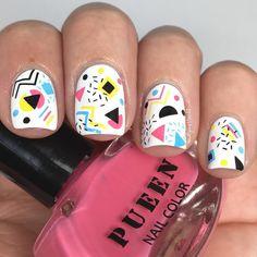 I'm loving these style nails! All stamping was done using I'm loving these style nails! All stamping 80s Nails, Dope Nails, Stag And Doe, 80s Design, Geometric Nail, 80s Style, Nail Stamping, Nail Trends, 80s Fashion