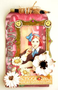 Scrapperlicious: Self Control Tag by Irene Tan using Clear Scraps chipboard tag, acrylic frame and stencils