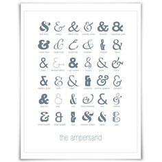 36 Ampersands - Art Print - Punctuation Typography Poster. $17.00, via Etsy.