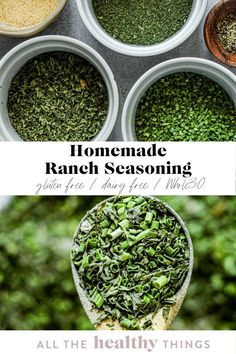 Easy homemade ranch seasoning made without any weird ingredients or additives. This flavorful blend of spices and herbs will give you that perfect ranch flavor without any dairy. It is perfect for seasoning fries or as a way to add some additional flavor to chicken or fish! Easy Whole 30 Recipes, Healthy Gluten Free Recipes, Homemade Ranch Seasoning, Spices And Herbs, Healthy Eating, Cooking, Eating Healthy, Kitchen, Cuisine