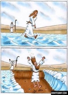 """Moses Pranks Jesus ha mean but funny"" Not mean. Just funny. Christian Comics, Christian Cartoons, Christian Jokes, Bible Jokes, Jesus Jokes, Jesus Funny, Jesus Humor, Funny Cartoons, Funny Comics"