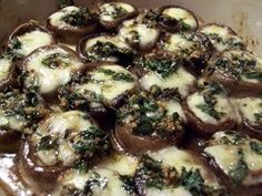 Low Carb Cream Cheese and Pesto Stuffed Mushrooms