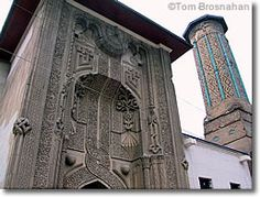 the grand portal of the Ince Minare Medrese in Konya, a fine example of Seljuk architecture.