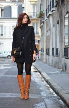 WASTED HOURS Manteau Mango – pull Gap – jupe Zara – bottes Tara Jarmon –…