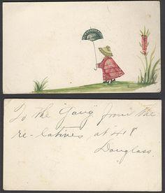 Postage Stamp Collage - Girl With An Umbrella by captainpandapants, Postage Stamp Art, Envelope Art, Artist Sketchbook, Lost Art, Art For Art Sake, Art Party, Recycled Art, Fantastic Art, Mail Art