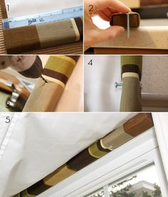 Lay the shade on a flat surface and measure 5 inches in from each end; mark it.  Use a screw long enough to go through the batten and into the window frame about 1/2 an inch.   Drill through the marked spot.   Insert the screws through the bottom of the batten until the point comes through the top.  Hold the shade up to the window and use the tip of the screws to mark the window frame.   Drill the window frame where marked with the screw tips.   Finish attaching the shade to the window. Cordless Roman Shades, Diy Roman Shades, Kitchen Dining Living, Roman Blinds, Batten, Kids Bedroom, Living Area, Sewing Ideas, Drill