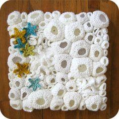 Modern Fiber Wall Art - Ghost Reef with Starfish by cornflowerbluestudio #crochet #fiberart