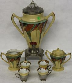 7 PC. ART DECO COFFEE SET, POTTERY & METAL : Lot 114