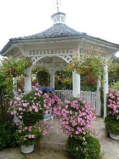 Gazebo and Supertunias,Vista Bubblegum how grand would it be to have a tea party here? Love this romantic gazebo!
