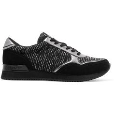 DKNY Jamie tweed, suede and leather sneakers (1.736.285 VND) ❤ liked on Polyvore featuring shoes, sneakers, black, leather sneakers, black leather shoes, leather lace up shoes, suede leather shoes and suede shoes