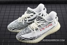 Dressed in a Zebra-like color scheme. This adidas Yeezy 350 Boost features a Black and White Primeknit upper with a Red letting and stitching on the back pull-tab. A Boost midsole completes the Yeezy design. Adidas Shoes Nmd, Adidas Nmd_r1, Yeezy Shoes, Black Adidas, Nike Shoes, Shoes Sneakers, 350 Boost, Yeezy Boost 350 Price, Adidas Boost