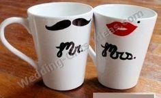 coffee mugs-would be a cute diy wedding gift. use plain white mugs, sharpies, and bake them! Coffee Mug Crafts, Coffee Mugs, Coffee Lovers, Diy Christmas Gifts, Holiday Gifts, Craft Gifts, Diy Gifts, Plain White Mugs, Diy Wedding Gifts