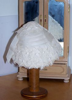 Stunning Vintage 1940s  White Organdy and Lace Bridal Hat MINT. $45.00, via Etsy.