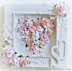 Shabby wedding card with a frame