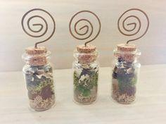 Real Moss Mini Terrarium - Glass Bottle Garden - Terrarium Place Card Holder - Terrarium Magnets - Nature Magnets