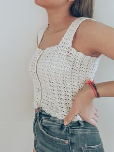 Custom Square neck cropped top with front buttons for women/white crochet halter top/cotton lace summer top/ready to ship/ladies beach wear Crochet Jumper, Crochet Crop Top, Crochet Blouse, Knit Crochet, Crochet Clothes, Diy Clothes, Moda Crochet, Crochet Summer Tops, Crochet Woman