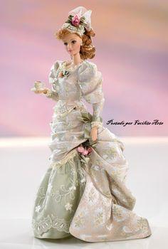 """Vou estrear este blog """"Facilite Arte Com Barbie = Barbie e Seus Vestidos"""" com esta linda boneca de 1999 feita em porcelana, Mint Memories ..."""