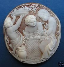 Shell Cameo Sardonyx 65 mm engraved by hand GENUINE