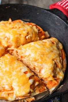 Buffalo Chicken Tortilla Pie - creamy, cheesy, and a (little bit) spicy. This is a quick meal and a great use of leftover or rotisserie chicken. mysequinedlife.com