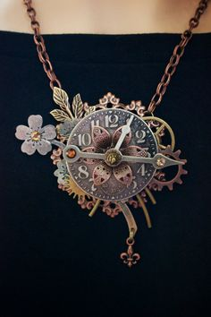 Steampunk Necklace - The Clock Arrangement - Clock Necklace - IN LOVE with this one too | Feed your Steampunk obsession with our board --> http://www.pinterest.com/thevioletvixen/i-love-steampunk/