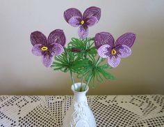 French Beaded Flowers Pansies by SherrysBeadedFlowers on Etsy, $15.50