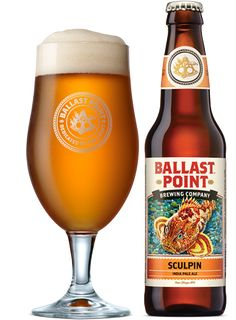 """Sculpin IPA by Ballast Point - Recipient of a Gold Medal at the World Beer Cup in 2010, this beer """"has a sting but tastes great;"""" 7% ABV."""