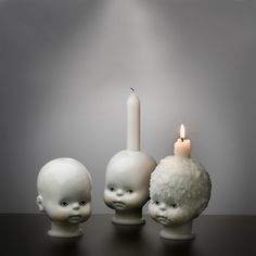 Slightly disturbing yet so cool - use doll heads weighted with sand? Don't forget to have an edge!