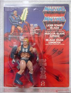 "Laser Power He-Man, one of the last figures released in Mattel's ""Masters of the Universe"" toy line, only in Europe"