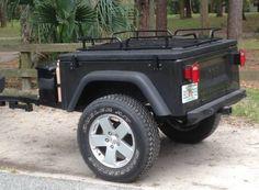 Kayak Bike Trailer, Camping Trailer Diy, Jeep Camping, Car Trailer, Utility Trailer, Off Road Trailer, Jeep Wrangler Girl, Jeep Cj7, Jeep Tent