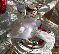 A Snowy Winter Table Setting