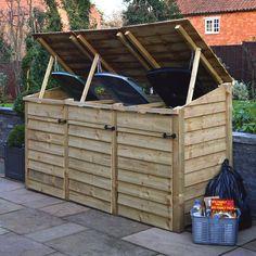 Trash Can Storage Outdoor, Outdoor Storage Units, Recycling Storage, Storage Bins, Triple Wheelie Bin Storage, Bin Shed, Round Picnic Table, Bin Store, Wood Store