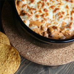 "Cheesy Chili Dip II | ""Perfect for parties, this chili dip features plenty of melted mozzarella cheese and is great served on chips. Use an additional can of chili, if desired."""