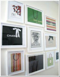 Framed shopping bags. Decor for your closet. Brilliant!!!!