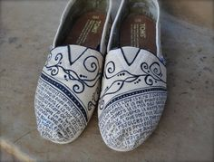 What is Love I Theme - Ivory & Black Custom TOMS Shoes