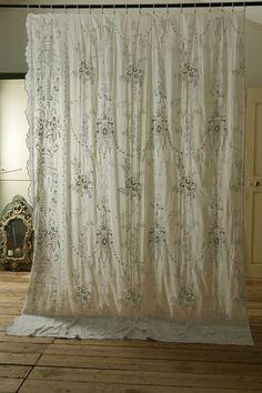 アンティーク フラワーオーガンジーレース(大判)  French Vintage Lace Curtain