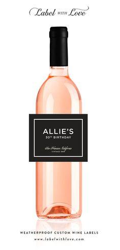 Custom Birthday Wine Labels  Set of 6  Elegant by LabelWithLove, $20.99
