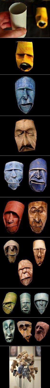 Brilliant masks out of toilet rolls Toilet Paper Roll Art, Rolled Paper Art, Toilet Art, Recycled Art, Art Plastique, Teaching Art, Elementary Art, Art Techniques, Diy Paper