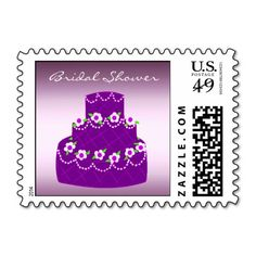Purple Bridal Shower Cake Postage #bridalshower #cake #purple