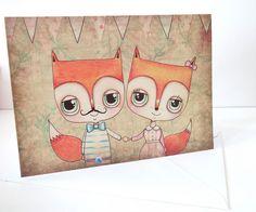 Mr and Mrs Fox Greeting Card by Heidi M Mcdonald, via Flickr