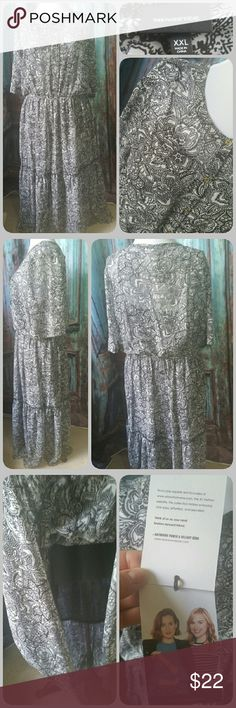 WHOWHATWEAR long dress Black and white floral and paisley patterned sheer long dress with gold button detail up front, elasticized waist. Mid length sleeves. Attached sheer black short slip underneath Whowhatwear Dresses