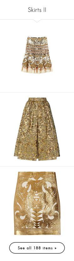 """Skirts II"" by sakuragirl ❤ liked on Polyvore featuring skirts, bottoms, saias, blumarine skirt, brown skirt, blumarine, prada, gold, metallic jacquard skirt and metallic skirt"