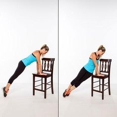 Incline Hip Twist Place hands shoulder-width apart on the seat of your chair and walk your feet back to a plank position, bracing your abs in tight. Use your core to lift your hips up slightly, and then rotate your left hip down to tap the edge of the seat lightly, pivoting on your toes. Lift hips and return to center. Repeat, alternating sides each time, for a total of 20 reps. Killer Workouts, Toning Workouts, Fun Workouts, Hiit, Flat Abs, Flat Stomach, Lose Fat Workout, Workout Abs, Postural