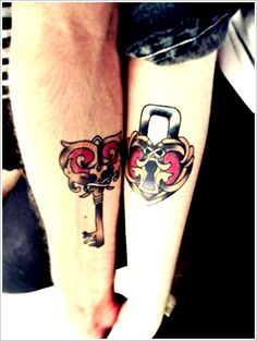 Unique Tattoo Designs For Couples: Love Lock And Key Tattoo Ideas For Couples On Arm ~ Men Tattoos Inspiration