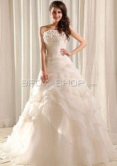 A-Form Hochzeit Brautkleid in Organza mit Deko-Blumen
