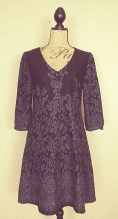 Papillon Black Purple Stretch Floral Knit Dress 3/4 Sleeve sz L #Papillon #FitFlare #EveningCareerCocktail