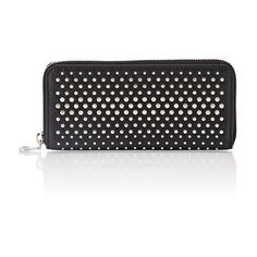Marc by Marc Jacobs Studded Slim Zip-Around Wallet (€210) ❤ liked on Polyvore featuring bags, wallets, black, slim bag, zip around wallet, black studded wallet, slim wallet and black wallet