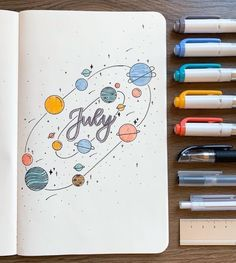 25 Space and Galaxy Themed Bujo Spreads Wondering what theme to go with for the month? Look at these 25 space and galaxy themed bullet journal spreads! Bullet Book, Bullet Journal Aesthetic, Bullet Journal Notebook, Bullet Journal Layout, Bullet Journal Inspiration, Bullet Journal Lettering Ideas, Junk Journal, Bullet Journal Month Cover, Bullet Journal School